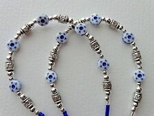 WHITE BLUE STARS BEADED EYEGLASSES HOLDER NECKLACE LOBSTER CLASP FOR RUBBER ENDS