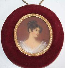Antique Miniature Portrait Oil or Watercolor Painting Pretty Lady