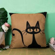 "18"" Black Cat Cotton Linen Cushion Cover Waist Throw Pillow Case Sofa Bed Decor"