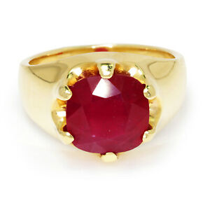 Men's Ruby Solitaire Belcher Ring 14K Yellow Gold 6.22CT