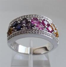 SIMULATED GEMS & DIAMONIQUE 1.9ct STERLING SILVER RING s: UK- L; US- 6.0 NEW QVC