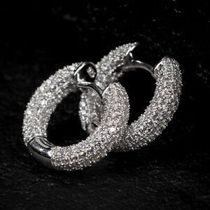 Mens 925 Sterling Silver Fully Iced Zig Zag Set Cz Round Huggie Hoop Earrings