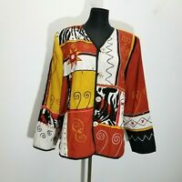 Indigo Moon Womens Jacket Size M Funky Art To Wear Embroidered Woven Patchwork