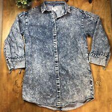 Monki Womens Acid Wash Button Down Midi Denim Jean Shirt Tunic M