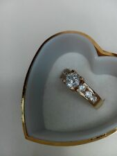 new 9ct yellow gold accent solitaire white zircon brillant ring all sizes