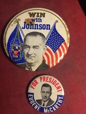 1964 LYNDON B. JOHNSON LBJ And Eugene McCarthy original campaign pins