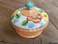 Royal Trico Japan hand-painted trinket powder box Lustre floral design