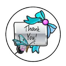 "48 Thank You Butterfly !!!  ENVELOPE SEALS LABELS STICKERS 1.2"" ROUND"
