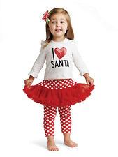 New Mud Pie I LOVE SANTA PLAYSET Christmas Holiday TUTU 0-6M Red White gift