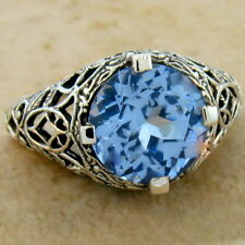 925 Sterling Silver Ring Sz 10, #327 5 Ct Blue Sim Topaz Antique Filigree Design