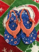 Reef Toddlers Flip Flops Sandals  Baby Girls , orange and blue size 9/10.