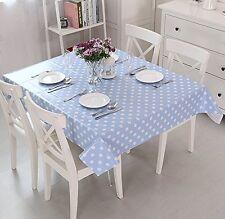 "Vinyl pvc wipe clean tablecloth cover NEW blue polka dot 55"" x 55"" 140cm x 140cm"