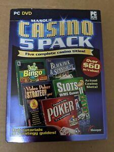Masque casino  5 pack bingo, slots, poker, blackjack , slots PC DVD ROM new