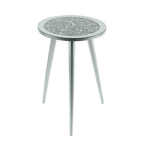 Mirrored Glass Round Side End Coffee Table Multicrystals Silver Grey 33x33x50cm