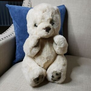 """Vtg Russ Berrie Yomiko Collection Bear 12"""" Plush Stuffed Leather Paws"""