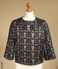 Jigsaw Sz UK 14 Black Silver-Grey Brocade Style Evening/Occasion Jacket ¾ Sleeve