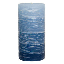 "Blue Layered Pillar Candle - 3x6"" Rustic - Nautical Collection - Unscented"