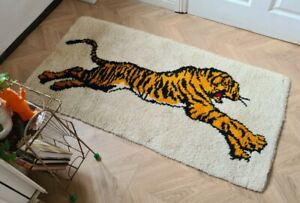 Vintage Retro Mid Century 70s Readcut Completed Latchhook Tiger Rug Wallhanging