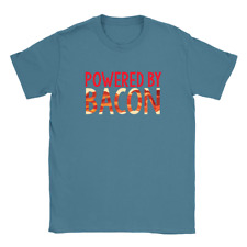 Powered By Bacon Mens T-Shirt Funny Gift For Dad Husband Meat Lover Food