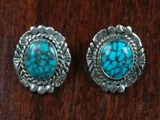 Navajo Turquoise Sterling Silver Clip Earrings Signed NE Native American Vintage