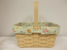 2006 Longaberger Handmade Basket With Floral Fabric Liner & Plastic Insert