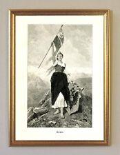 Tyrolia von Mathias Schmid 1890 Holzstich Tirol K&K Monarchie 5 im Goldrahmen