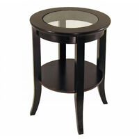 Round Espresso Accent Table Glass Top End Side Coffee Lamp Stand Living Room New