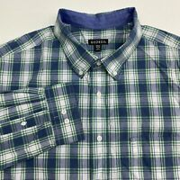 George Button Up Shirt Men's Size 2XL XXL Long Sleeve Blue Lake Plaid Casual