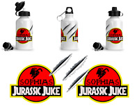Personalised NAME Juice Aluminium Sports Water Bottle Inspired by Jurassic Park