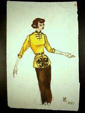 Young Waitress 1951 Original Watercolor Pencil Sketch by C. Kelm