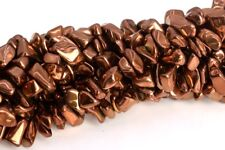 """4x3-10x5MM Rose Gold Hematite Pebble Chips Grade AAA Natural Loose Beads 16"""""""