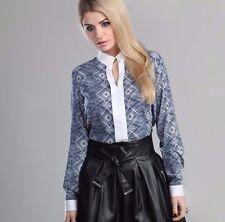 LOUISA FERRERA Elegant Formal Work Career Business Casual Long Sleeve Shirt M