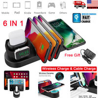 6in1 QI Wireless Charging Charger Dock Station Stand Apple Watch iPhone Air Pods