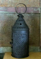 Colonial Paul Revere Candle Lantern Punched Tin Punch Primitive Candle Holder