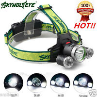 Tactical Headlight 10000LM 3x XMLT6 2R5 LED Headlamp 18650 Head Torch Light Lamp