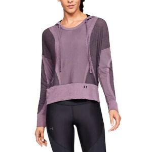 Under Armour UA HeatGear Vanish Seamless Hoodie Purple Prime Warm Up Top