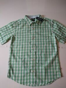 Nautica Boys Green White Checked Button-up Collared Shirt Size Large 14-16...