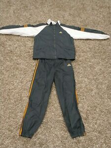 Vintage Adidas 90's Gray & Orange Windbreaker Tracksuit Outfit Size M RN#88387