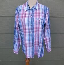 Allison Daley Shirt Sz 8 M Blue Pink White Plaid Blouse Top Tab n Button Sleeves
