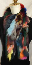 Real fox fur scarf boa multi color New Made in the USA