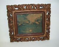 Cabins in the Woods Along Stream Print by C. Moss with Antique Ornate Frames