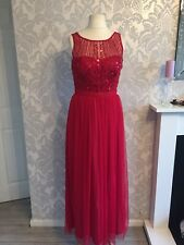 Debenhams 12 dress gown red festive maxi long fit flare sequins sleeveless  F