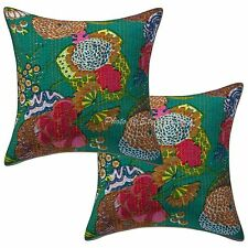 Handmade Printed Kantha Cotton Pillow Case Emerald Green Tropicana Cushion Cover