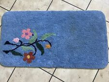 """Vintage Blue Chenille Bath Mat Rug with Retro Mod Flowers 36"""" by 20"""""""