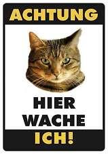 ACHTUNG KATZE GETIGERT FUNSCHILD - 10x15 cm Blechkarte Blechschild 15017