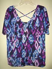 AB STUDIO Women's Blue, Purple & Black Polyester Stretch Short Sleeve Blouse Med
