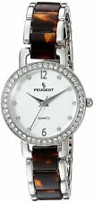 Peugeot 7083BR Womens Swarovski Crystal Quartz Brown Dress Watch