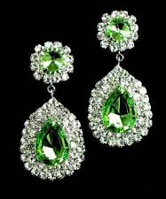 Sparkly green diamante dangly drop earrings statement rhinestone prom party 0268