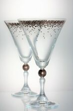 Large Pair Gold Confetti Decorated Glass Wine  Water Goblets -  250 ml