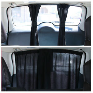 Car Van SUV Window Curtain Black Visor Mesh Cover With Strap UV Sunshade Shield
